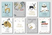 Merry Christmas And Happy New Year Vector Greeting Cards Set With Cute Animals. Hand Drawn Card Set. poster