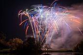 Long Exposure Of Fireworks At Sherborne Castle In Dorset poster