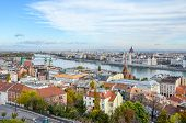 Beautiful Cityscape Of Budapest, Hungary. Hungarian Parliament Building, Orszaghaz, In The Backgroun poster