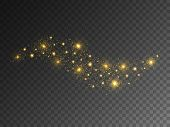 Glitter Wave On Transparent Background. Gold Light With Bright Stars. Sparkling Effect And Confetti. poster