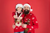Christmas Is Love. Little Daughter Show Love Heart To Father. Bearded Man And Small Child On Xmas. S poster