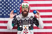 Celebrate With Bang. American Santa On National Flag Background. Patriotic Man Celebrate Christmas A poster