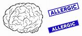 Mosaic Brain Icon And Rectangular Allergic Seals. Flat Vector Brain Mosaic Icon Of Scattered Rotated poster