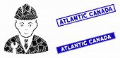 Mosaic Developer Pictogram And Rectangle Atlantic Canada Seal Stamps. Flat Vector Developer Mosaic P poster
