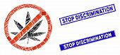 Mosaic Stop Cannabis Pictogram And Rectangle Stop Discrimination Seal Stamps. Flat Vector Stop Canna poster