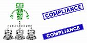 Mosaic Robot Manager Pictogram And Rectangular Compliance Seals. Flat Vector Robot Manager Mosaic Pi poster