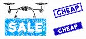Mosaic Airdrone Sale Pictogram And Rectangle Cheap Seal Stamps. Flat Vector Airdrone Sale Mosaic Pic poster