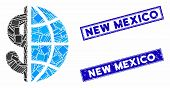 Mosaic Global Business Icon And Rectangular New Mexico Seals. Flat Vector Global Business Mosaic Ico poster