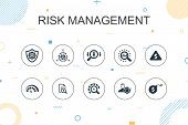 Risk Management Trendy Infographic Template. Thin Line Design With Control, Identify, Level Of Risk, poster