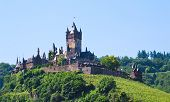 stock photo of moselle  - view on castle under town Cochem on the Moselle - JPG