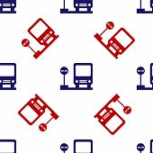 Blue And Red Bus Stop Icon Isolated Seamless Pattern On White Background. Transportation Concept. Bu poster