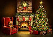 Christmas Eve, Room Decorated With Christmas Decoration, Christmas Tree And A Fireplace Symbol Of Ch poster