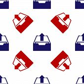 Blue And Red Upload Inbox Icon Isolated Seamless Pattern On White Background. Extract Files From Arc poster