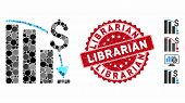 Mosaic Financial Crisis Icon And Rubber Stamp Seal With Librarian Text. Mosaic Vector Is Formed With poster