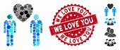 Mosaic Gay Lovers Icon And Distressed Stamp Seal With We Love You Text. Mosaic Vector Is Composed Wi poster