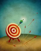 stock photo of archery  - An archery field target with one big arrow hitting a bull - JPG