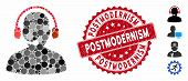 Collage Telemarketing Icon And Grunge Stamp Watermark With Postmodernism Text. Mosaic Vector Is Comp poster