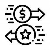 Exchange Bonuses For Money Icon Vector. Outline Exchange Bonuses For Money Sign. Isolated Contour Sy poster