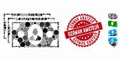 Mosaic Banknotes Icon And Rubber Stamp Seal With German Amateur Phrase. Mosaic Vector Is Composed Wi poster