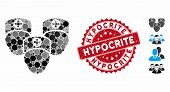 Mosaic Consultation Medic Group Icon And Grunge Stamp Seal With Hypocrite Caption. Mosaic Vector Is  poster