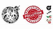 Mosaic Biological Weapons Icon And Rubber Stamp Seal With Pollution Text. Mosaic Vector Is Formed Wi poster