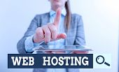Writing Note Showing Web Hosting. Business Photo Showcasing Business Of Providing Storage Space And  poster