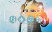 Conceptual Hand Writing Showing Asset Management. Business Photo Showcasing Analysisaged Investment  poster