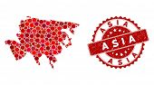 Mosaic Asia Map And Round Seal Stamp. Flat Vector Asia Map Mosaic Of Scattered Round Items. Red Rubb poster