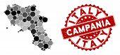 Mosaic Campania Region Map And Circle Seal Stamp. Flat Vector Campania Region Map Mosaic Of Randomiz poster