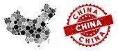 Mosaic China Map And Circle Watermark. Flat Vector China Map Mosaic Of Scattered Circle Elements. Re poster