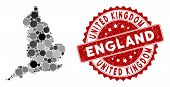 Mosaic England Map And Circle Seal Stamp. Flat Vector England Map Mosaic Of Scattered Circle Element poster