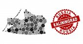 Mosaic Kaliningrad Region Map And Round Seal. Flat Vector Kaliningrad Region Map Mosaic Of Scattered poster