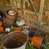 Pile Of Abandoned Household Stuff, Outdoor Close-up poster