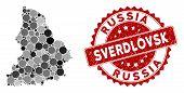 Mosaic Sverdlovsk Region Map And Circle Seal Stamp. Flat Vector Sverdlovsk Region Map Mosaic Of Rand poster