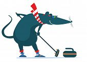 Rat Or Mouse Plays Curling Illustration. Cartoon Rat Or Mouse With A Curling Brush And A Stone Isola poster