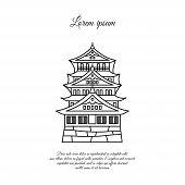 Osaka Castle Vector. Asian Building Or Castle Icon. Japan Castle. Black Line, Linear Symbol On White poster