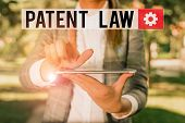 Text Sign Showing Patent Law. Conceptual Photo Deals With An Inventor S Is Exclusive Right To Use Ow poster