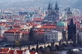 image of frot  - Historical centrum of the Prague - Old Town Charles bridge and church Our Lady frot Tyn.