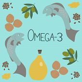 Omega-3 Products And The Inscription Omega-3 In The Center. Polyunsaturated Fatty Acids In Flax Seed poster
