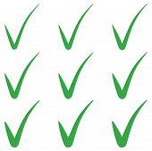Set Tick Green Checkmark Correct Mark Checkbox, Vector Tick Green Checkmark Symbol Of Approval poster