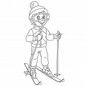 Coloring Page. Coloring Book. Colouring Picture With Cartoon Skier, Boy Ski Running. Childish Design poster