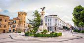 Abruzzo Region City Square In Italy, Vasto With The Statue In Piazza Gabriele Rossetti Square . poster