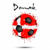 Abstract Soccer Ball Painted In The Colors Of The Denmark Flag. Flag Of Denmark In The Form Of A Soc poster