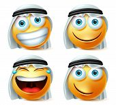 Happy Arab Emoticons Vector Set. Saudi Arab Emoji Face And Emoticons In Laughing, Naughty, Smiling A poster