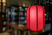 Red Chinese Style Lantern Hanging In Door, Chinese Lanterns Or Paper Lights,  Chinese New Year Tradi poster
