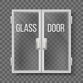 Glass Doors With Silver Handle And Frame Vector. Transparent Double Doors Central Front Entry To Com poster