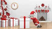 Santa Claus Pushing Gift. Merry Christmas And Happy New Year 2020 Animation. Santa Claus With A Chri poster