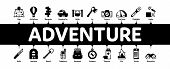 Adventure Minimal Infographic Web Banner Vector. Binocular And Camera, Map And Boat, Ax And Knife, C poster