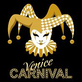 Vector Image Of A Jester Carnival Mask. Venetian Traditional Mask. A Jester In A Hat With Bells And  poster