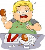 picture of bing  - Illustration of an Overweight Boy Binge Eating - JPG